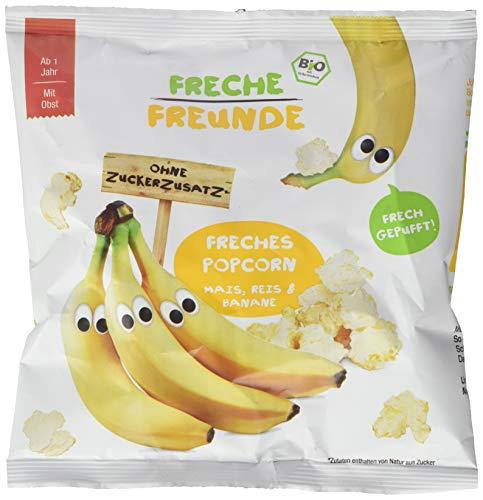 Freche Freunde Bio Popcorn Mais, Reis & Banane, ohne Zuckerzusatz, Knabbersnack für Kinder & Babys ab 1 Jahr, 8er Pack (8x20g)
