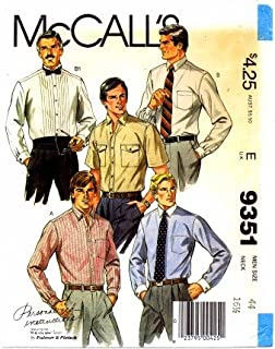 McCall's 9351 Sewing Pattern Palmer & Pletsch Mens Shirts Tuxedo Chest 44