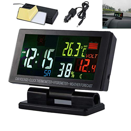 MASO Car RGB LCD Digital Multifunctional Clock 12V-24V Thermometer Hygrometer Weather Forecast Temperature Alarm 4 in 1 with 1.5m Cable