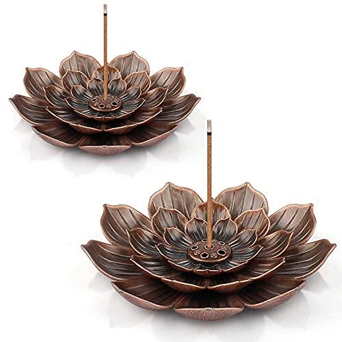 Quemador De Incienso Lotus De Latón Porta Incensario Flor D