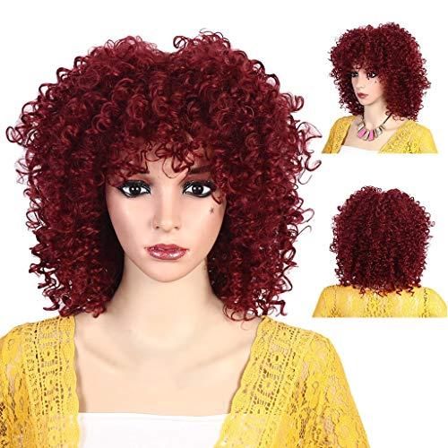 Perruque Tête d'Explosion Soie Longs Cheveux Bouclés Haute Température Respirante Rose Net perruque 3/4 hippie Femme Courte Bresilienne (B)