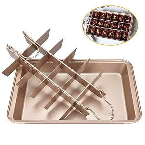 DECARETA Backblech Brownie Backform Form Klein Mini Kastenform Brownie mit Trennwände 2 in 1 Braun Kohlenstoffstahl Kuchenblech zum Backen, Kuchen, Brot, Kekse, Quadratische Pizzen