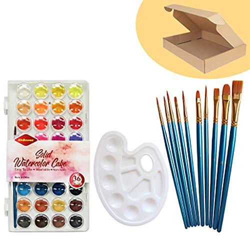 ☀ Dergo ☀ Acrylic paint set, With 10Pcs Brush Palette 36 Colors Student Painting Materials Art Supplies Set