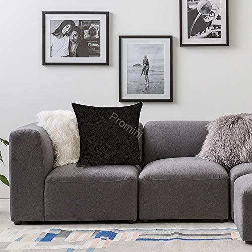 Promini dekorativt kuddöverdrag VI-508 svart platt grön lämna bomull linne kuddöverdrag örngott för hem soffa bäddsoffa sängkläder rum bar kafé 66 x 66 cm