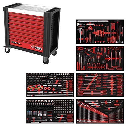 KS Tools 825.6446 PERFORMANCEplus Werkstattwagen P25, bestückt mit 446 Werkzeugen in 6 Einlagen für 6 Schubladen