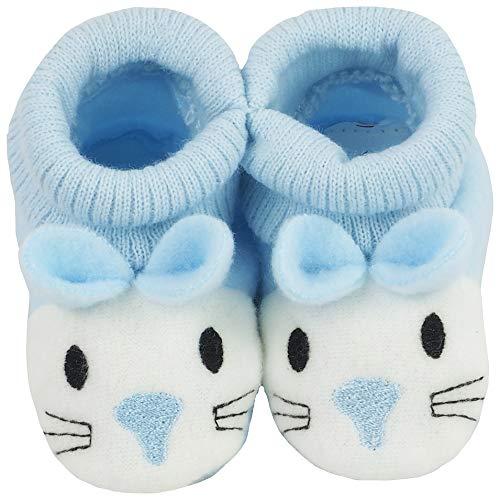 Baby Schuhe Strickschuhe Erstlingsschuhe Häschen das kleine Geschenk (0-3 Monate) Blau