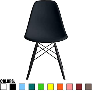 2xhome - Black - Plastic Bedroom Dining Side Ray Chair with Black Wood Eiffel Dowel-Legs Base Nature Legs No Side