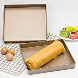 Bandeja para hornear de 28 x 28 x 3 cm, horno de hornear mousse Cake Durable Lavavajillas Cake Turntable Aleación de aluminio (oro)