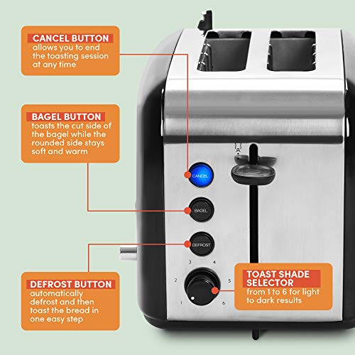 Product Image 2: Maxi-Matic ERT-6067 Long Cool Touch 4-Slice Toaster Extra Wide 1.25″ Slots for Bagels Waffles, 2, White