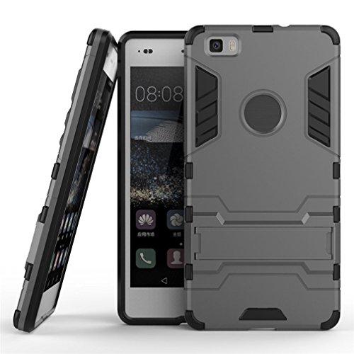 Funda Huawei P8 Lite, MHHQ 2in1 Armadura Combinación A Prueba de Choques Heavy Duty Escudo Cáscara Dura PC + Suave TPU Silicona Rubber Case Cover con soporte para Huawei P8 Lite -Gray