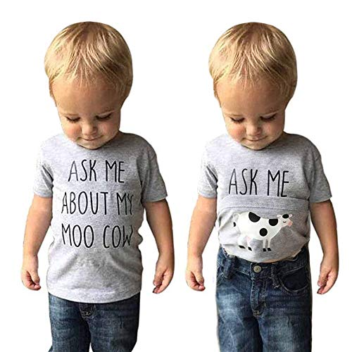 GObabyGO Baby Ask me About My moo Cow, Toddler Kids Baby Boys T-Shirt Short Sleeves Summer Tops Tees(Gray 1, 5-6X)