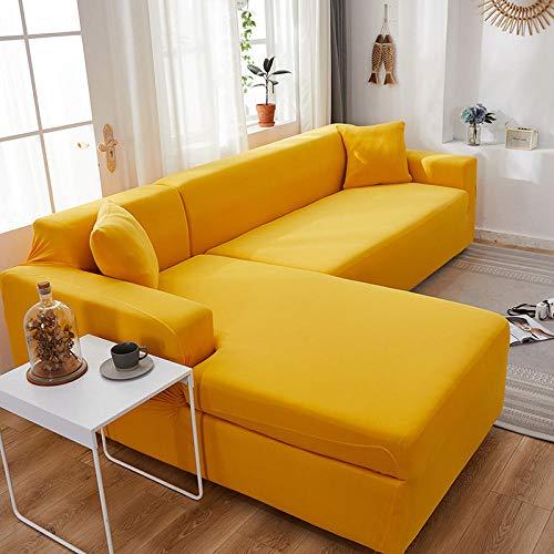B/H 3 Plaza Funda de Sofá Elástico Cubierta,Funda de sofá Minimalista Moderna, Funda de sofá elástica Totalmente Cubierta-Yellow_145-185cm,Funda sofá Duplex