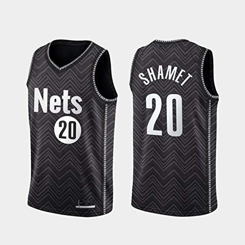 Camiseta de Baloncesto de los Hombres NBA Brooklyn Nets 20# SHAMET Cómodo/Ligero/Transpirable Malla Bordada Swing Swing Swing Camiseta Retro Sudadera,M