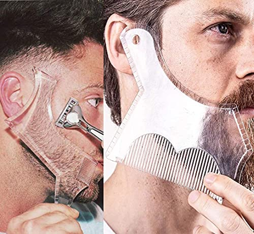 2PCS Men's Beard Shaping Tool Template, Beard Guide Shaper with Inbuilt Comb, Multi-liner Edges Shave for Curve/Straight/Neckline/Goatee/Sideburns