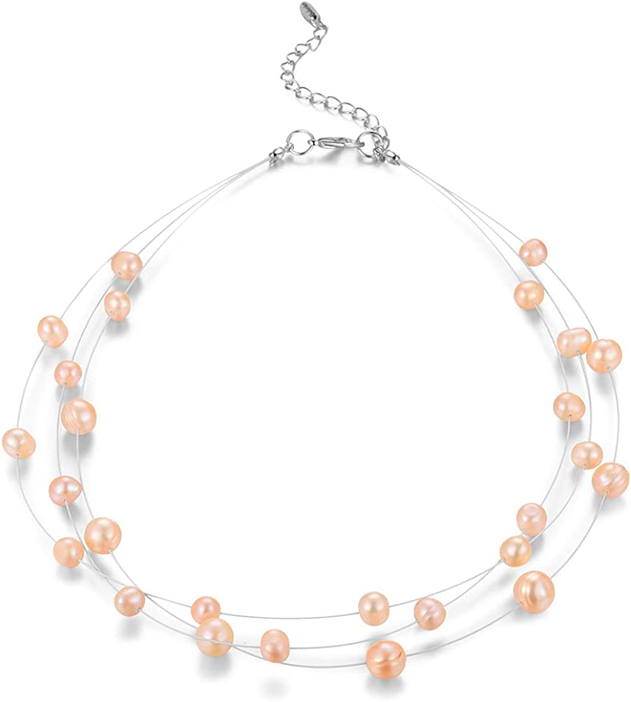 BULINLIN In a popularity Layered Choker Freshwater Pearl Fashion Jewe famous Necklace -