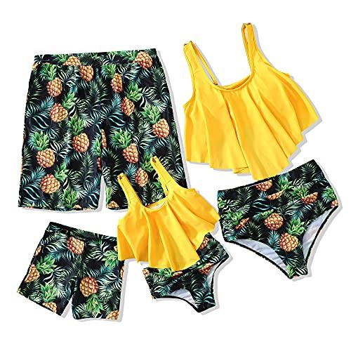 Ebrolkit Family Matching High Waisted Bikini Swimsuit 2 Piece Mommy and Me Ruffled Flounce Swimwear Bathing Suit Set (Yellow Boy, 4-5 Years)