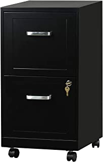 "AD ARAZY 2 Drawer File Cabinet, 18"" Deep Metal Filing Cabinet with Lock, Made by Thick Metal Materials with Lockable Casters, Letter Size(Black)"