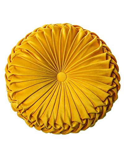 """XQ HOUSE Throw Pillow for Couch Decorative 3D Pumpkin Vehicle Wheel Round Velvet Cushion for Sofa Bed Chair Floor 15""""X15"""", Yellow"""