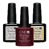 CND Shellac Dark Lava plus Base Coat plus Top Coat, Esmalte de gel de uñas - 22 ml.