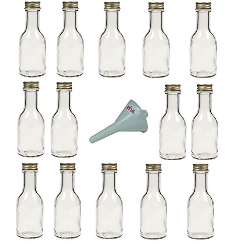 Viva Haushaltswaren - Juego de Botellas de Cristal (con tapón de Rosca 14 Unidades 100 ml rellenables Incluye Embudo de 5 cm Blanco)