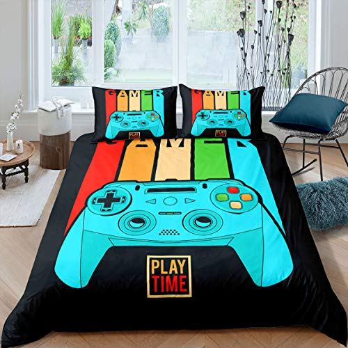 Erosebridal Game Comforter Cover Set Gamepad Duvet Cover Full Gamer Bedding for Boys Cartoon Gaming Controller Colorful Buttons Quilt Cover 3 Piece with 2 Pillowcases,Dark Navy