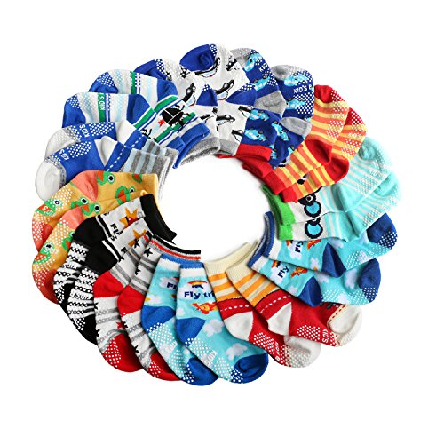 6 Paires Chaussettes Antid/érapantes en Coton pour B/éb/és SWEETBB Chaussettes Non-glissement pour les B/éb/és Gar/çons de 1-3 Ans