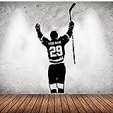 Pegatinas De Pared Calcomanía De Pared De Hockey Personalizada Nombre Y Amp; Números Jugador Hockey Sobre Hielo Gol Vinilo Calcomanías Pegatina Niños Dormitorio Decoración Deporte 57X126Cm