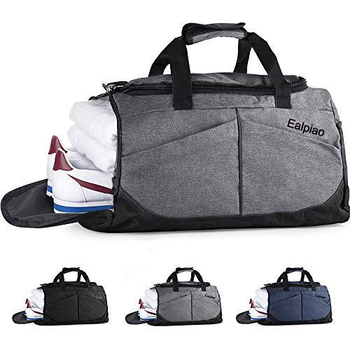 Weiao Sac de Sport Fitness Sac avec Compartiment à Chaussures Sacs de Voyage Imperméables de Grande Capacité Sac Multiuse Sac à Dos, Sac à Bandoulière et à Main (Gris)