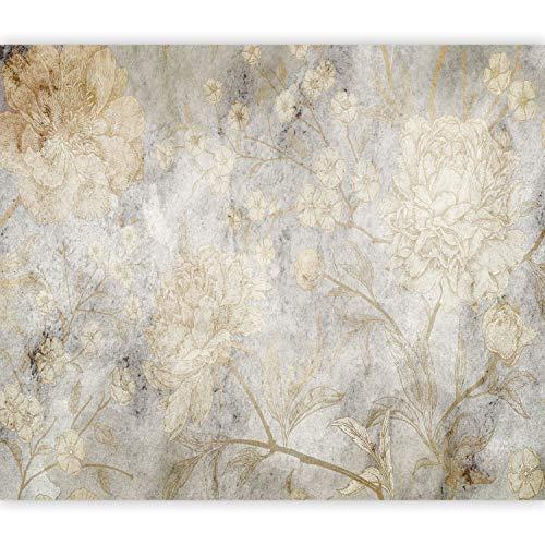 murando Fototapete Abstrakt 350x256 cm Vlies Tapeten Wandtapete XXL Moderne Wanddeko Design Wand Dekoration Wohnzimmer Schlafzimmer Büro Flur grau golden Natur Blumen wie gemalt b-C-0803-a-a