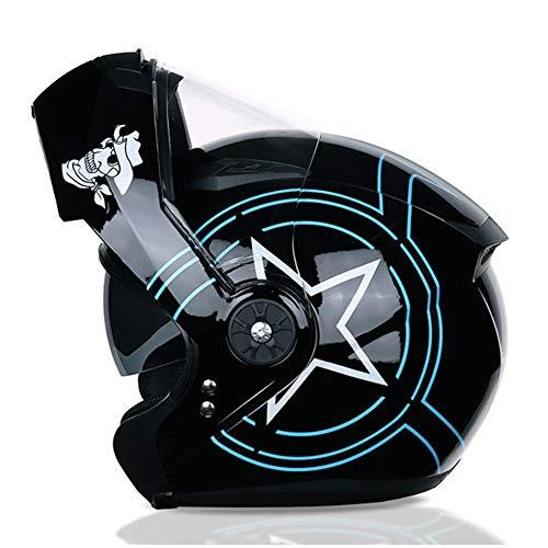 AJJ Moto Star Casco Protector Modular abatible Frontal hacia Arriba ciclomotor Cascos de Turismo de Motocicleta Casco de Scooter Cruiser Knight Casco Seguridad Doble Visera para Hombre Mujer
