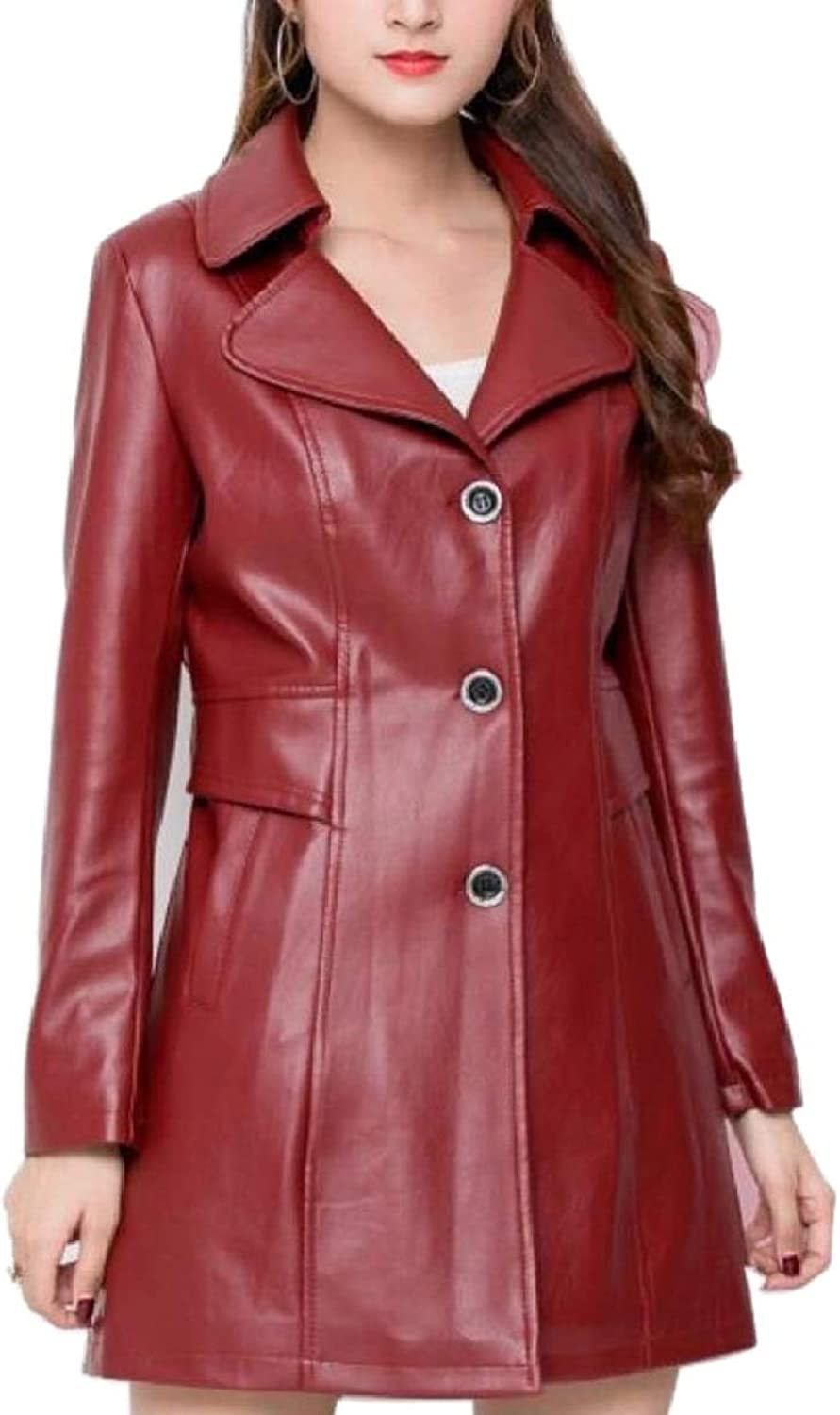LEISHOP Women's Pure color Mid Length Trench PU Leather Single Breasted Outerwear