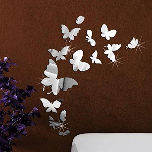 Toifucos Adesivi da Parete a Specchio, Farfalla Adesivi Murali Removibile DIY 3D Specchio Adesivo Murali per Casa Salotto Camera da Letto Creativi Decorazione, 14pcs
