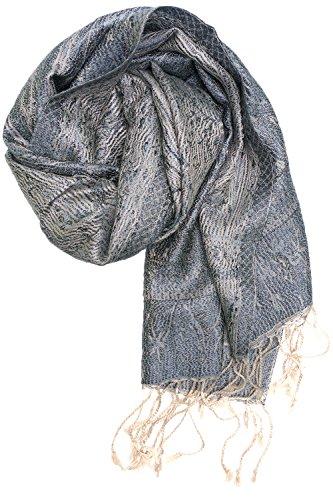 ufash Pashmina 100% Seidenschal aus Indien für Damen & Herren, Paisley Muster, 160 x 35 cm - Schal aus reiner Seide, Grau 2