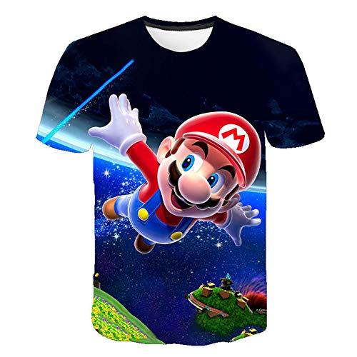 Super Mario Kinder T-Shirt Sommer 3D Bedruckte Kurzarm für Jungen Mädchen 229575,130cm