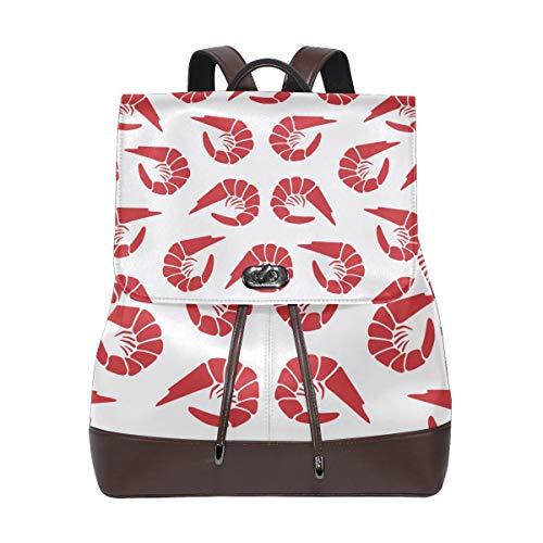 Damen PU Leder Shrimps Muster Rucksack Geldbörse Reise Schule Schultertasche Casual Daypack