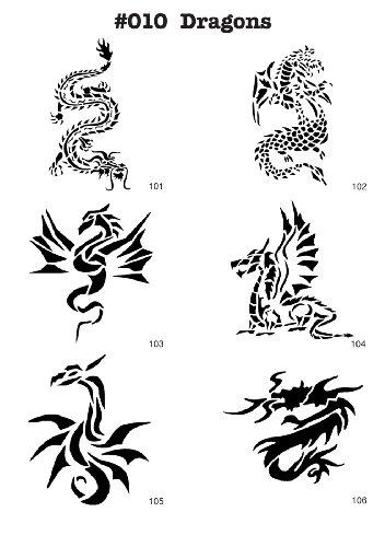 UNLIMITED STENCILS 6 Airbrush Tattoo/Bodypainting Schablonen/Stencils DRACHEN, MYLAR # 010 M