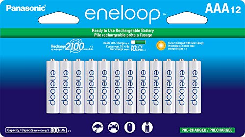 Panasonic BK4MCCA12FA eneloop AAA 2100 Cycle NiMH PreCharged Rechargeable Batteries package includes 12AAA silver or 12AAA white