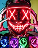 Lizber Halloween Mask, Led Light Up Mask Cosplay Costume with Neon Wire, Scary Hacker Mask for Halloween, Glow in The Dark Mask with 3 Lighting Modes, Glowing Anonymous Mask for Boy Girls Women, Red