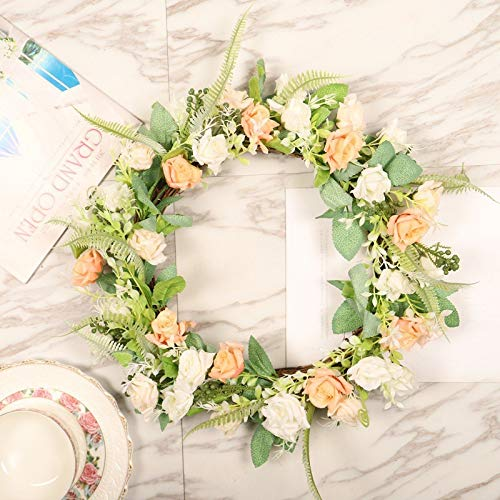 Simulation Triangle Rose Garland Wreath Door Hanging Spring Home Decoration Wall Hanging Vine Circle Halloween Yellow White- Eucalyptus Garland- Grapevine Wreath-A