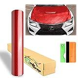 EZAUTOWRAP Premium Red 7D Carbon Fiber High Gloss Car Vinyl Wrap Sticker Decal Film Sheet Bubble Free Air Release Technology 6D - 12'X60' (1FT X 5FT)
