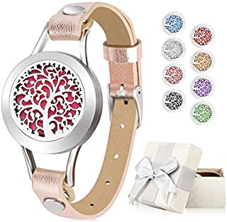 Aromatherapy Essential Oil Diffuser Bracelet Jewelry for Women Ease Anxiety, 316L Stainless Steel Locket Leather Band Bracelet Birthday Gifts for Women with 8 Color Refill Cotton Pads, Tree (Gold)