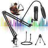 SHUMDHA Mikrofon PC 192kHz/24bit,Gaming Mikrofon USB Mikrofon Kit mit Mikrofonständer Popfilter Plug & Play,Gaming Mikrofon PS4 für Podcast, Skype, Streaming, YouTube, Gaming
