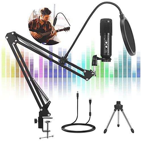 Mikrofon PC 192kHz/24bit - Gaming Mikrofon, SHUMDHA USB Mikrofon Plug & Play Studio Mikrofon Set mit Mikrofonständer Shock Mount,Popfilter für Podcast, Skype, Streaming, YouTube, Gaming