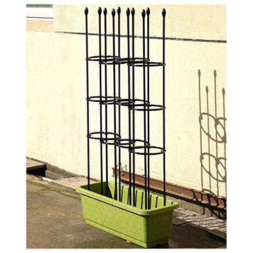 SOULOS Climbing Plants Trellis Black PE Plastic Coated Roses Pots Supports Flower Leaf Shape Potted Plant 3 Hoops Fixing Support Obstacle Frame Patio Vegetables Fence,25x90cm