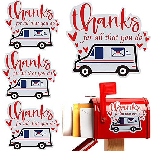 4 Pieces Thank You Mailbox Vinyl Decal Mail Truck Sticker Thanks for All That You Do Mailbox Stickers Personalized Delivery Box Sticker Vinyl Mailbox Decals for Outdoor Mailbox Delivery Box