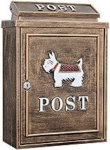 TZSMXX Mailbox European Classical Villa Mailbox Pastoral Retro Wall Letter Box Waterproof Outdoor Thicker Post Mailbox with Lock (Color : Schnauzer Bronze)