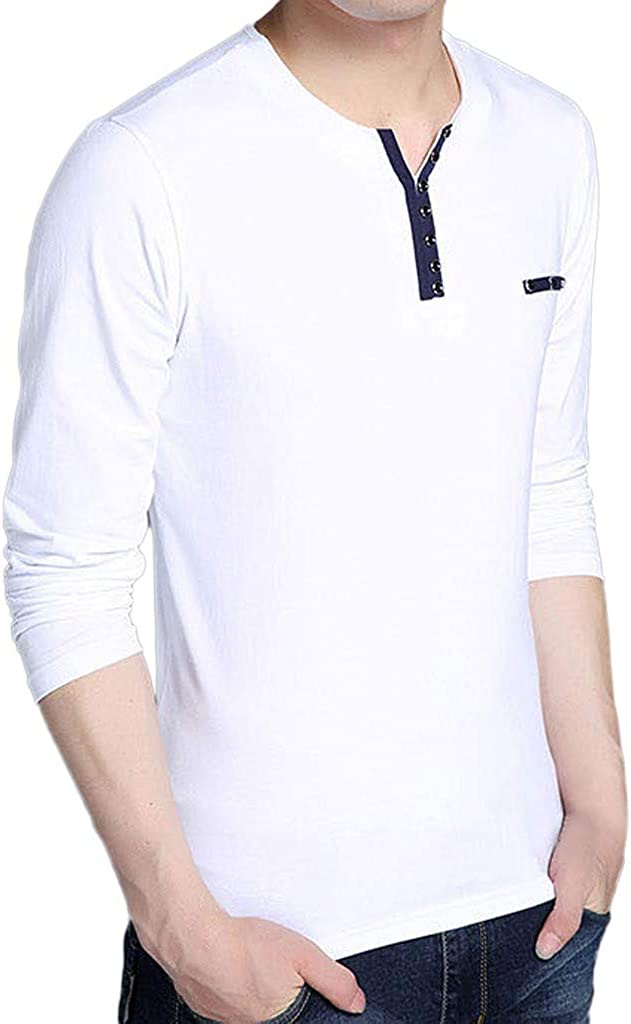 TOPUNDER Mens Cotton T-Shirt Spring Casual Fashion Long Sleeved Button Tops Blouse