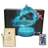TriPro Dolphin Fish 3D Illusion LED Room Table Decor Lamp Sea Animals Night Light with Greeting Card, 16 Colors Change, Remote Bedroom Decorations Toys Gifts for Men, Women, Kids, Girls, Boys, Teens