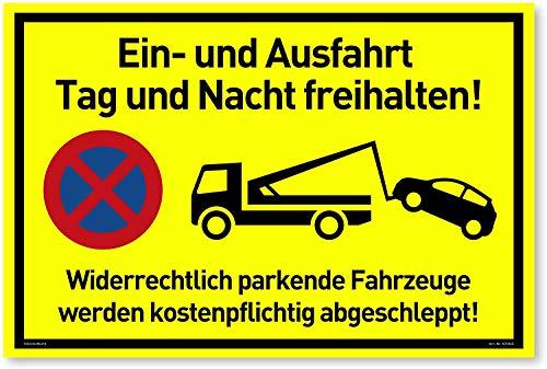NEU Einfahrt Freihalten Schilder (30x20 cm Kunststoff) - Ausfahrt freihalten Schild - Nie Wieder zugeparkt - Auch Gegenüber - (Neongelb) - Hier Wird abgeschleppt