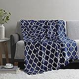 Madison Park Ogee Lightweight Throw Blanket Premium Microlight Design Spread, Oversize, Ultra Soft, Cozy Living Room Couch, Sofa, Bed, 60'x70' Indigo Plush Throw